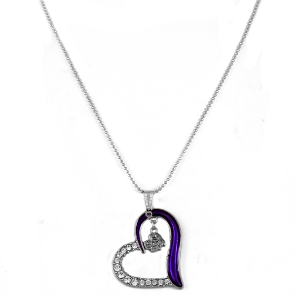 Half Stunning Crystals & Team Colored Heart with East Carolina Logo Silver Necklace