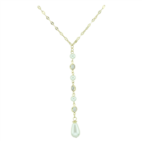 Elegant Clear Crystal & Iridescent Pearl Drop Dangle Gold Necklace