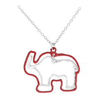 Lively Red & Silver Thin Double Elephant Outline Charm Necklace