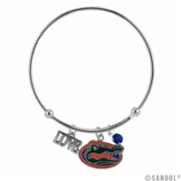Coil Love Silver Charm Bracelet Florida Gator Bangle Silver Jewelry