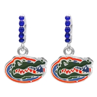 College Fashion Crystal University of Florida Logo Charm Cuff Hoop Dangle Electra Earrings