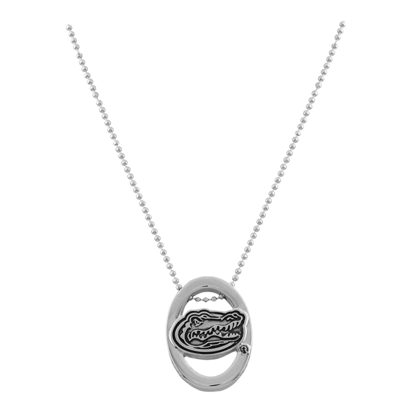 Florida Gators Logo Silver Oval Pride Necklace