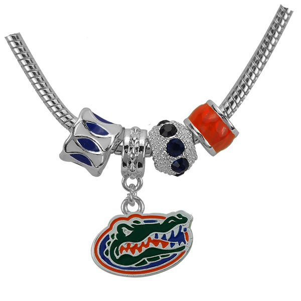 Florida Gators Logo Team Colored Charms Silver Necklace