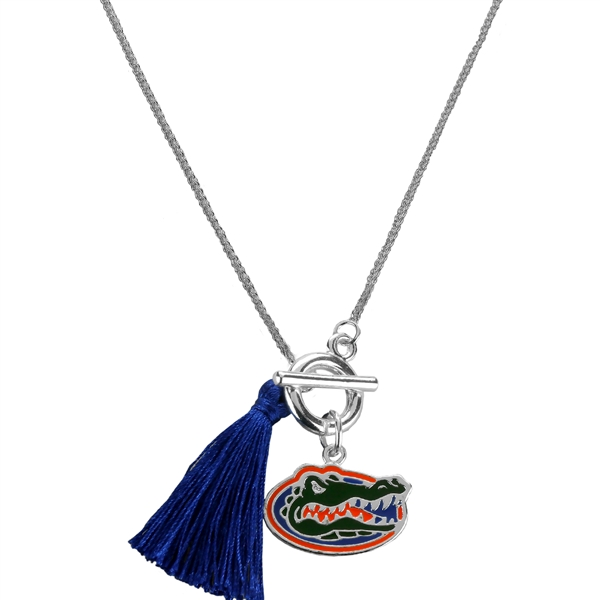 College Fashion University of Florida Logo Charm Tassel Norma Necklace Lobster Clasp
