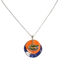 Florida Gators Team Colored Disc Logo Silver Necklace