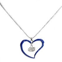 Silver Florida Gators Logo Blue & Silver Heart Necklace