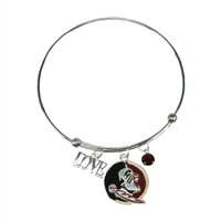 Coil Love Silver Charm Bracelet Florida State Seminole Bangle Silver Jewelry