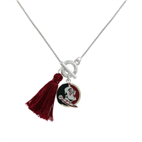 College Fashion Florida State University Logo Charm Tassel Norma Necklace Lobster Clasp