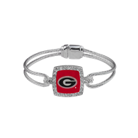 Stylish Crystal University of Georgia Logo Team Colored Squared Bangle Bracelet