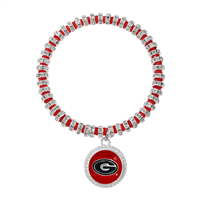College Fashion Crystal University of Georgia Logo Charm Bicks Bracelet