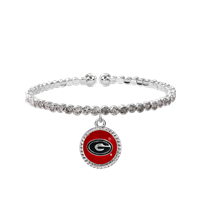 College Fashion Crystal University of Georgia Logo Charm Cuff Breeze Bangle