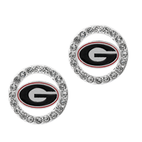 College Fashion Crystal University of Georgia Logo Charm Stud Eugenia Earrings