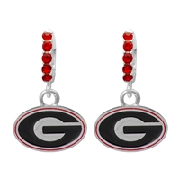 College Fashion Crystal University of Georgia Logo Charm Cuff Hoop Dangle Electra Earrings