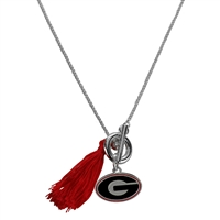 College Fashion University of Georgia Logo Charm Tassel Norma Necklace Lobster Clasp
