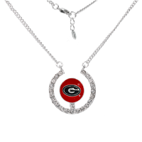 Stunning Crystal University of Georgia Logo Team Colored Round Charm Silver Necklace