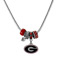 College Fashion Crystal University of Georgia Logo Charms Natalya Necklace