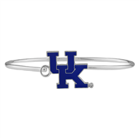 University of Kentucky Wildcats Team Colored Logo Silver Bangle Bracelet