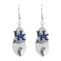 Silver Leaf-Like Charm University of Kentucky Wildcats Logo Earrings