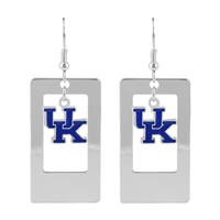 Silver Open Rectangle Window Charm University of Kentucky Wildcats Logo Earrings