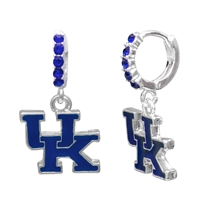 College Fashion Crystal University of Kentucky Logo Charm Cuff Hoop Dangle Electra Earrings