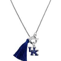 College Fashion University of Kentucky Logo Charm Tassel Norma Necklace Lobster Clasp