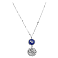 Silver Knotted Ball Logo Charm University of Kentucky Wildcats Logo Necklace