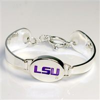 Silver Engraved Team Logo Bracelet Louisiana Tiger