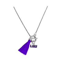 Louisiana State University Logo Team Colored Tassel Toggle Clasp Silver Necklace