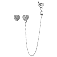 CRYSTAL HEART EAR CUFF EARRINGS