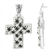 Stylish Spiritual Faith Black & White Oval-Shaped Stone Silver Cross Stud Dangle Earrings