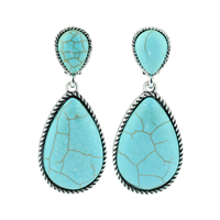 Silver & Turquoise Oval Stone Drop Stud Earrings