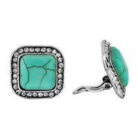 Silver & Turquoise Squared Stone Stud Earrings