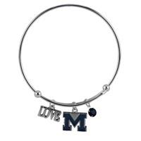 Coil Love Silver Charm Bracelet UM Wolverines Bangle Silver Jewelry