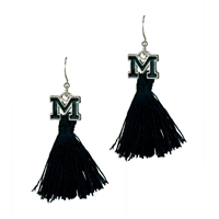 College Fashion University of Michigan Logo Charm Tassel Post Dangle Eambi Earrings