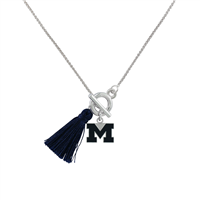 College Fashion University of Michigan Logo Charm Tassel Norma Necklace Lobster Clasp