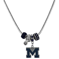 Silver Beaded Charm Necklace Michigan