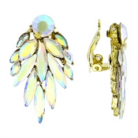 Flashy Jazzy Multi-Colored Iridescent Crystal Gold-Toned Clip-On Earrings
