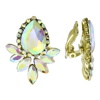 Cute Multi-Colored Iridescent Crystal Gold Clip-On Earrings