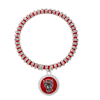College Fashion Crystal North Carolina State University Wolfhead Logo Charm Bicks Bracelet