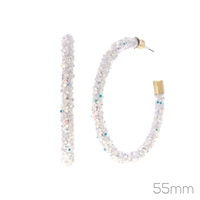 Gorgeous Colorful Glittery Sequins Iridescent Silicone Tube Open Hoop Gold Earrings