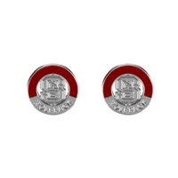 NC State Circular Post 2 Tone Earrings Silver