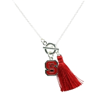 College Fashion North Carolina State University Logo Charm Tassel Norma Necklace Lobster Clasp