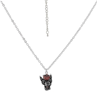 North Carolina State University Team Colored Wolf Head Mascot Logo Charm Silver Necklace