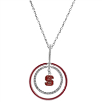 NCSU Wolfpack Silver Jewelry Necklace Rhinestone