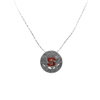 North Carolina State University Team Colored Logo & Black Text Hammered Round Silver Necklace