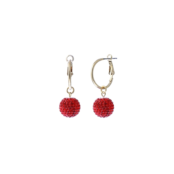 Handmade Beautiful Red 14MM Crystal Ball Gold Toned Hoop Earrings