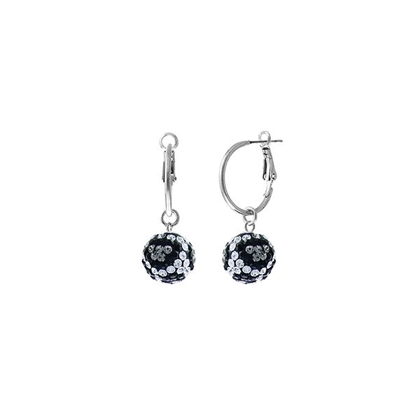 Handmade Beautiful White, Black & Gray 12MM Crystal Leopard Ball Silver Toned Hoop Earrings