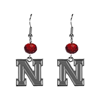 Silver Beaded Drop Earrings Nebraska Husker