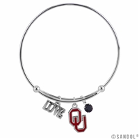 Coil Love Silver Charm Bracelet Oklahoma Sooners Bangle Silver Jewelry