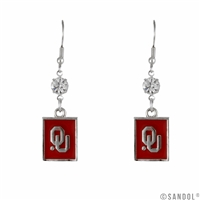 Square Dangle Earrings Oklahoma Boomer Sooner